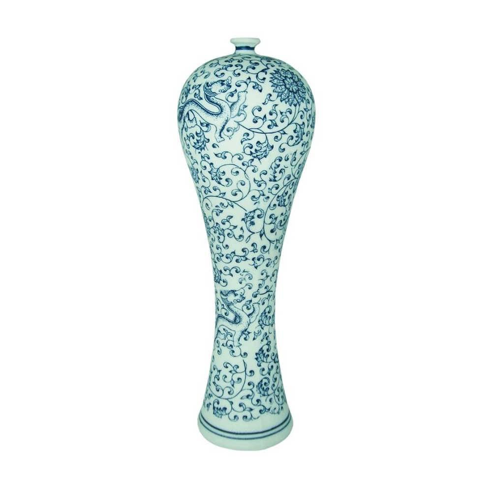 Vaso Tianjin Lord Fosco Pequeno em Porcelana - 31,5x10 cm