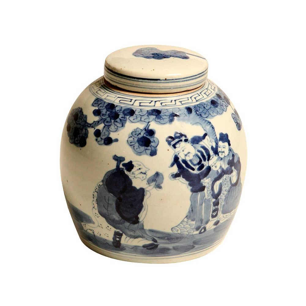Vaso Tradição Oriental Azul com Bege em Porcelana - 24x23 cm