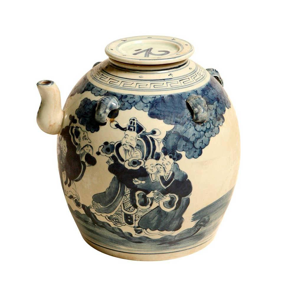 Vaso Tradição Oriental Azul e Branco em Porcelana - 25x25 cm