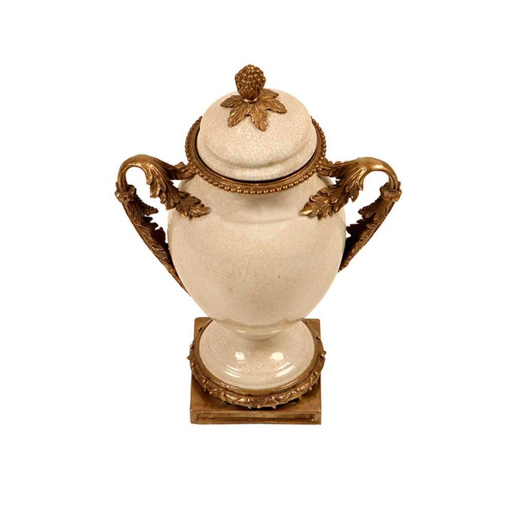 Vaso Tradicional Bege e Bronze em Porcelana - 35x25 cm