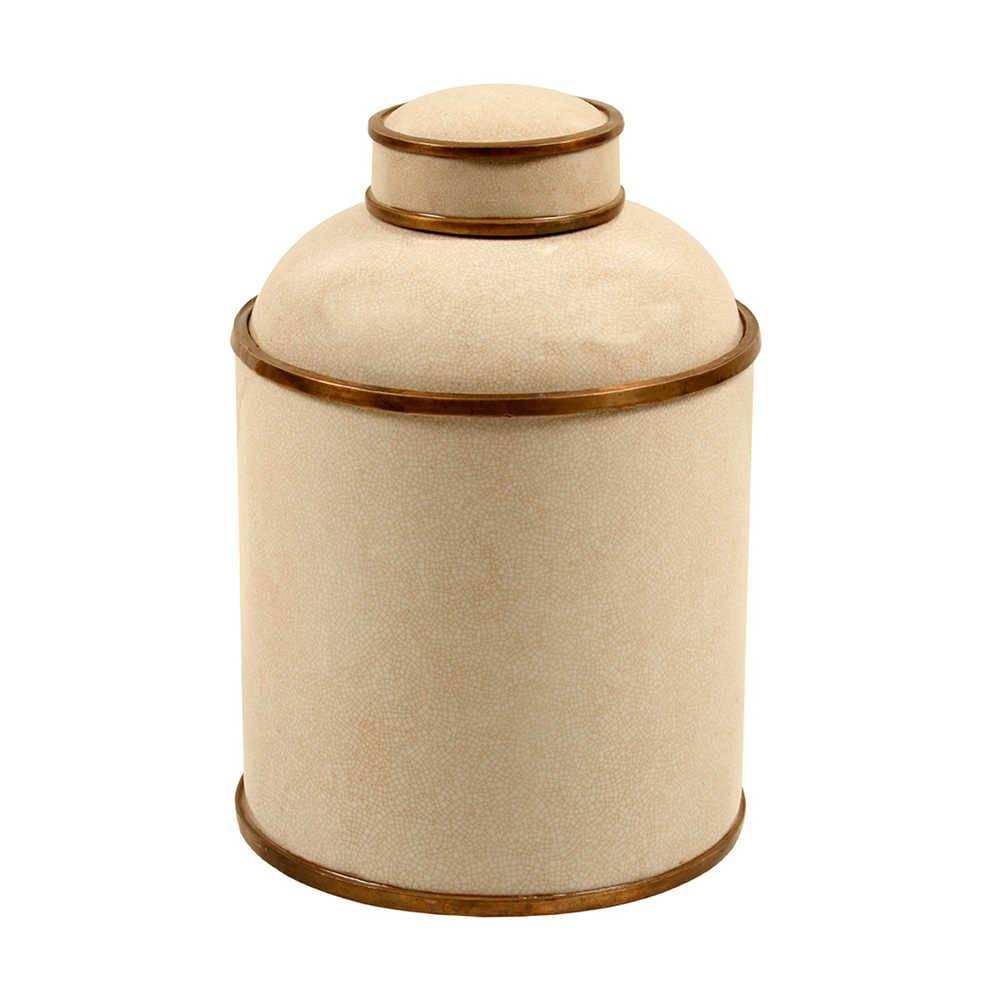 Vaso Tradicional Craquelado Bege Grande em Porcelana - 35x22 cm