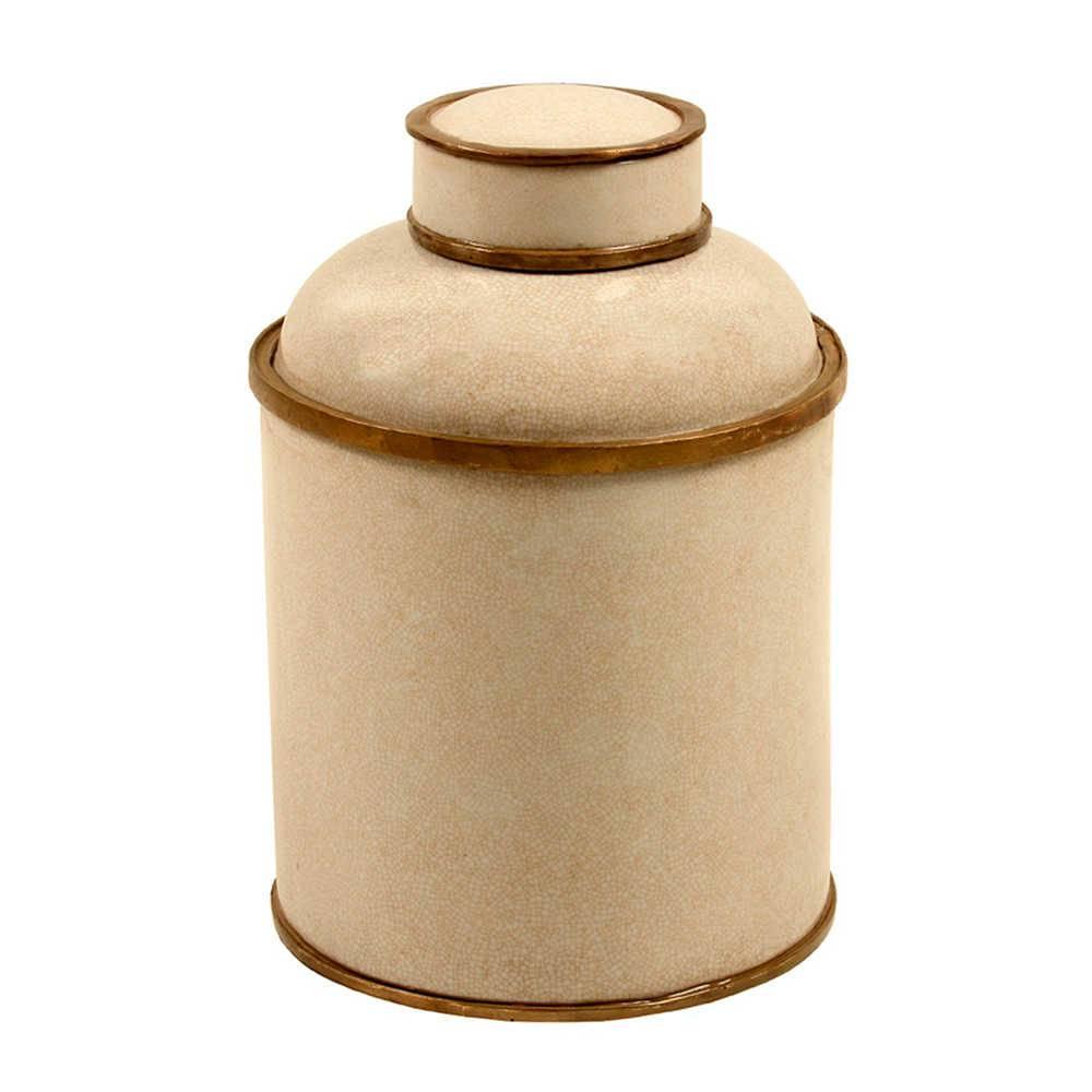 Vaso Tradicional Craquelado Bege Médio em Porcelana - 30x22 cm