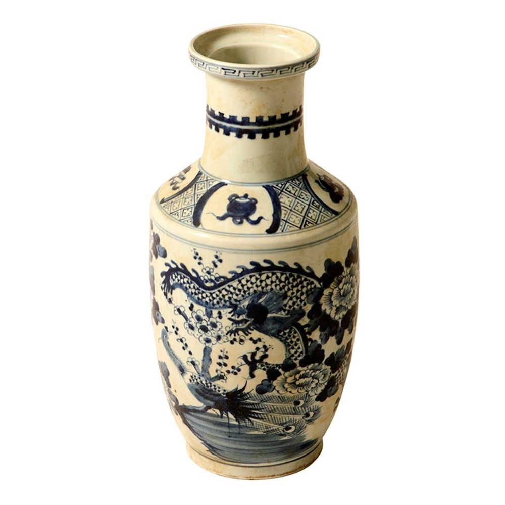 Vaso Tradicional Dragão Azul com Bege em Porcelana - 43x20 cm