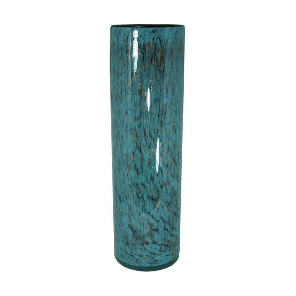 Vaso Turchese Pipe Azul e Preto Grande em Vidro - 40x11,5 cm