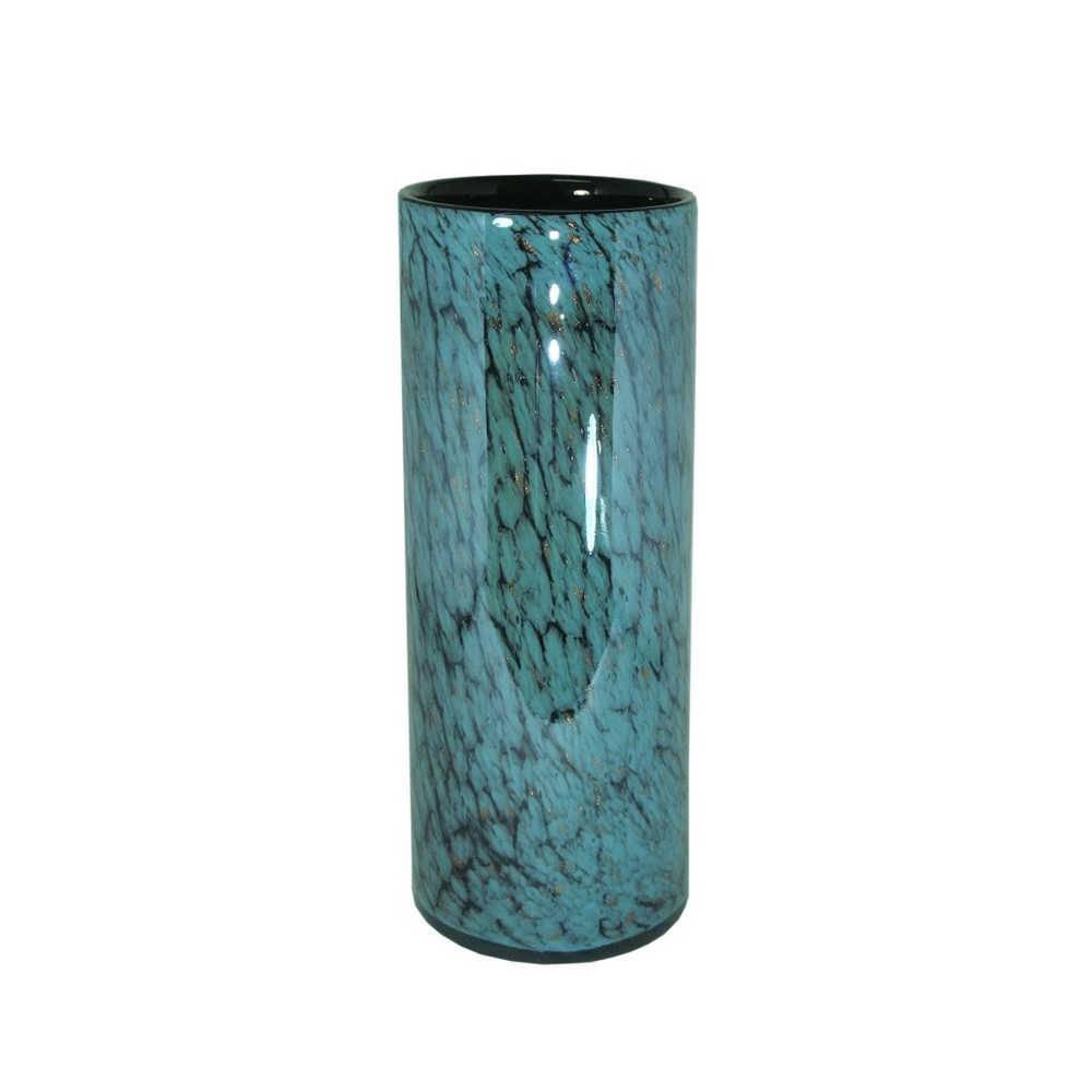 Vaso Turchese Pipe Azul e Preto Pequeno em Vidro - 30x11,5 cm