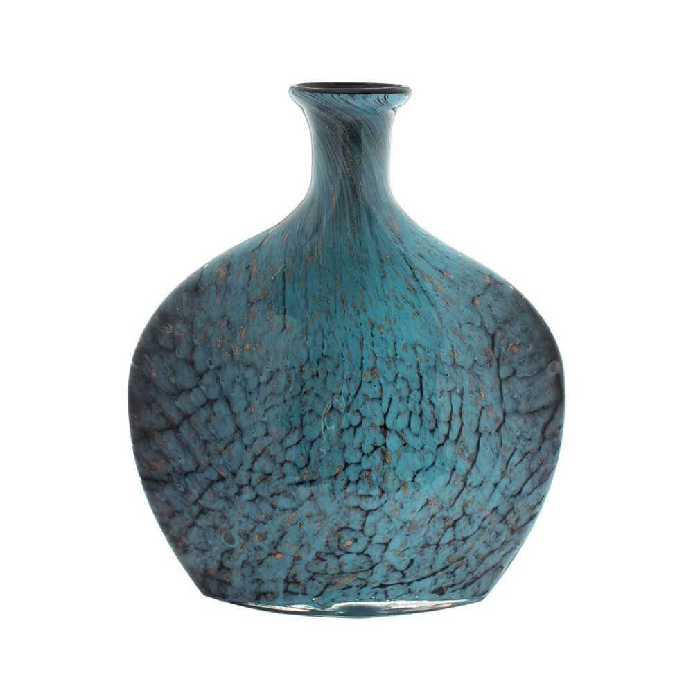 Vaso Turchese Spald Azul e Preto Médio em Vidro - 42x30 cm