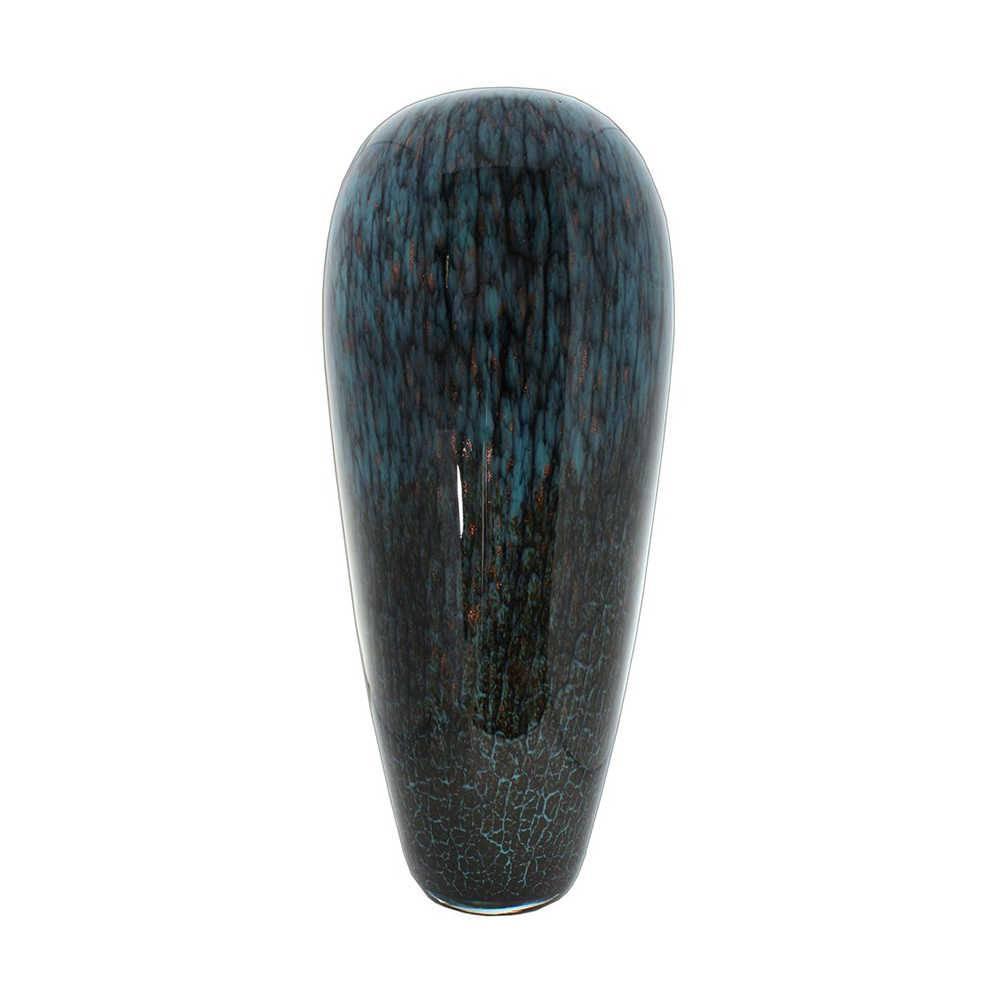 Vaso Turquese Azul e Preto Fino Médio em Vidro - 50x20 cm