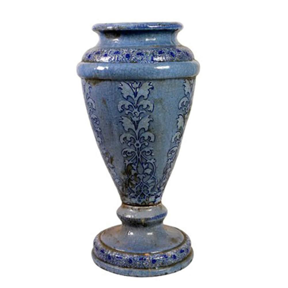 Vaso Vanuatu Azul com Efeito Craquelado Médio em Cerâmica - 59x31 cm