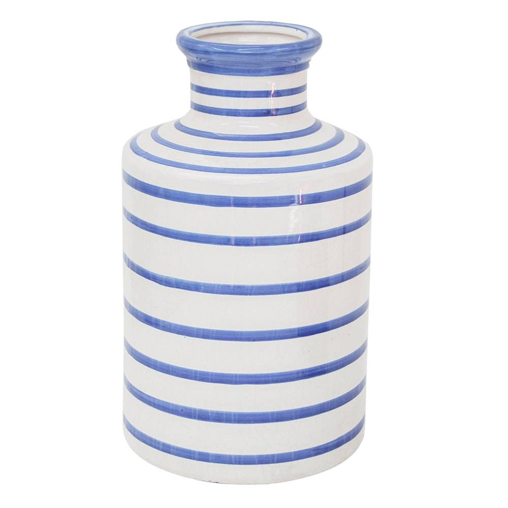 Vaso Venezza Azul/Branco Grande em Cerâmica - 36x21 cm