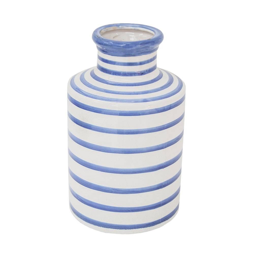 Vaso Venezza Azul/Branco Médio em Cerâmica - 29x18 cm