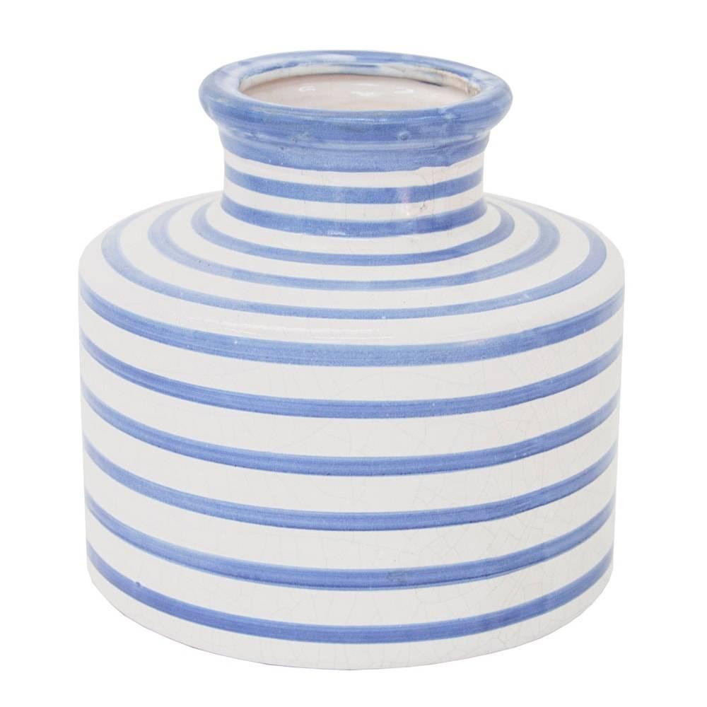 Vaso Venezza Azul/Branco Pequeno em Cerâmica - 20x19 cm