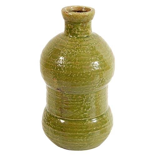 Vaso Verde Oxford Ondulado em Cerâmica - 32x17 cm