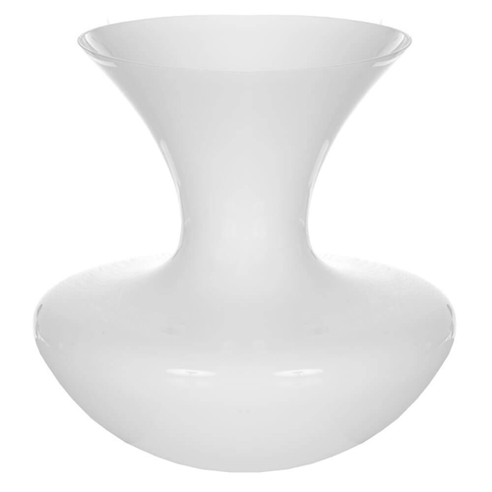 Vaso Waist Branco Grande em Vidro - Urban - 31x25 cm