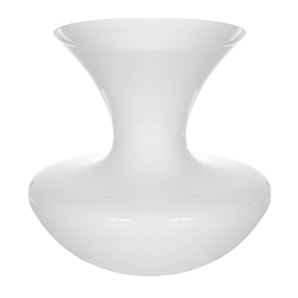 Vaso Waist Branco Pequeno em Vidro - Urban - 24x18,5 cm