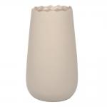 Vaso Wave Bege Pequeno em Cerâmica - 25x14 cm