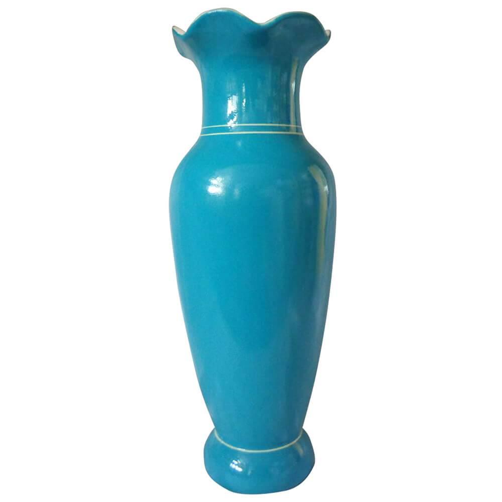 Vaso Wave Neck Le Jazz Solid Color Blue em Cerâmica - Urban - 35x13 cm