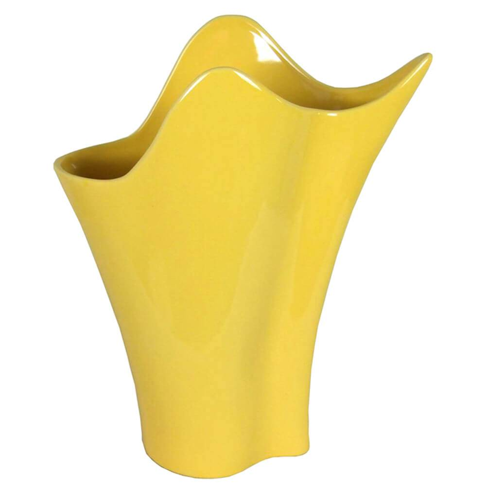 Vaso Waves Amarelo Grande em Cerâmica - Urban - 44,4x34,4 cm