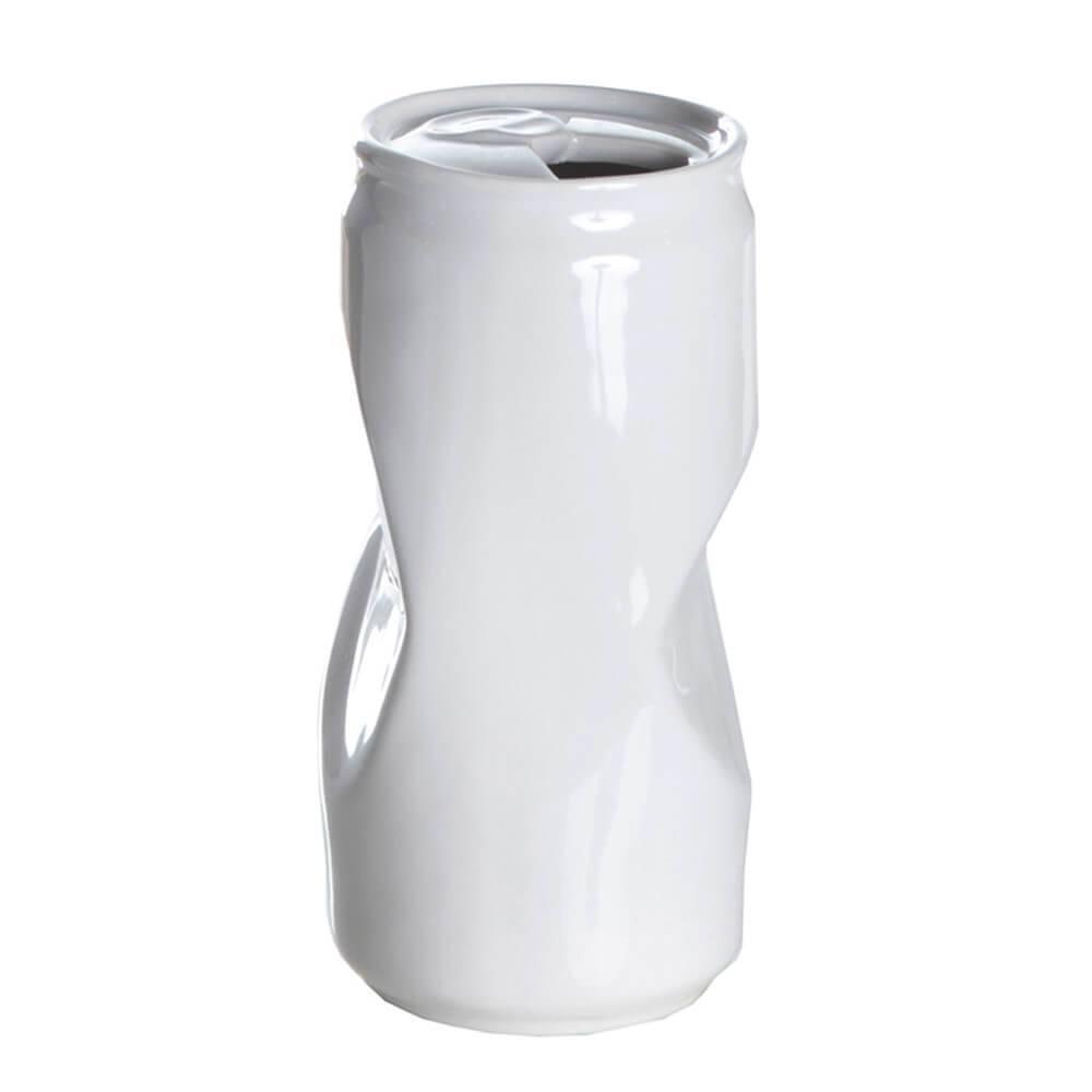 Vaso Whinckled Can Branco Médio em Cerâmica - Urban - 16,5x8,7 cm