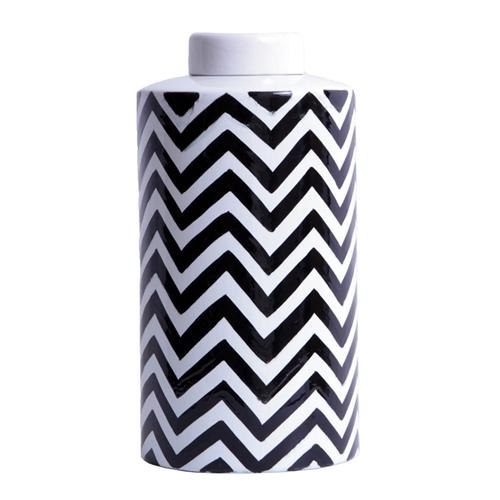 Vaso Zig Zag Black And White Pequeno em Cerâmica - 28x14 cm