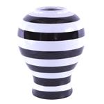 Vaso/Pote Listrado Black White em Cerâmica