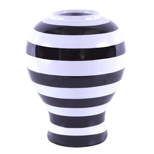 Vaso/Pote Listrado Black White em Cerâmica - 38x22 cm
