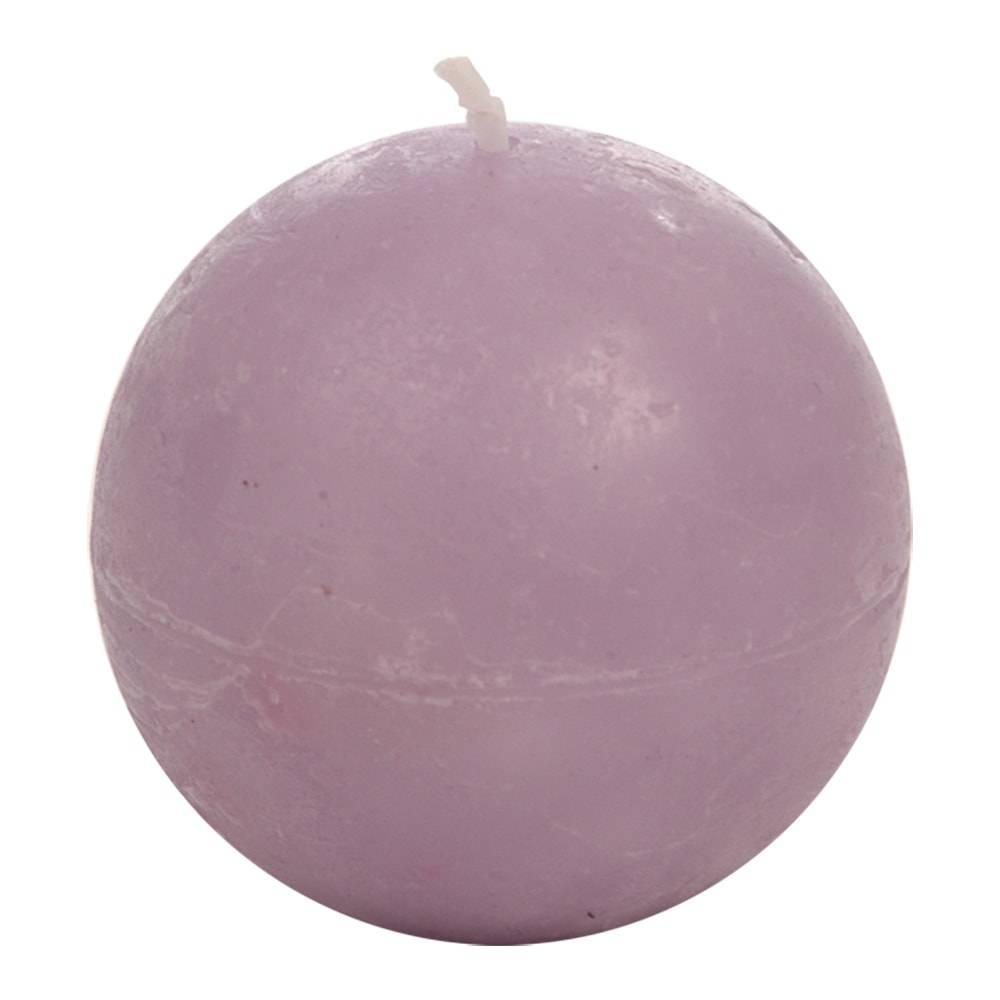 Vela Bola Lilás Pequena - 16 Horas - em Parafina - 6,5x6,5 cm