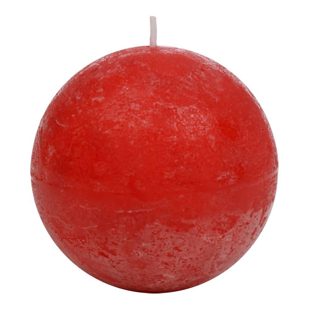 Vela Bola Vermelha Grande - 40 Horas - em Parafina - 8,5x8,5 cm