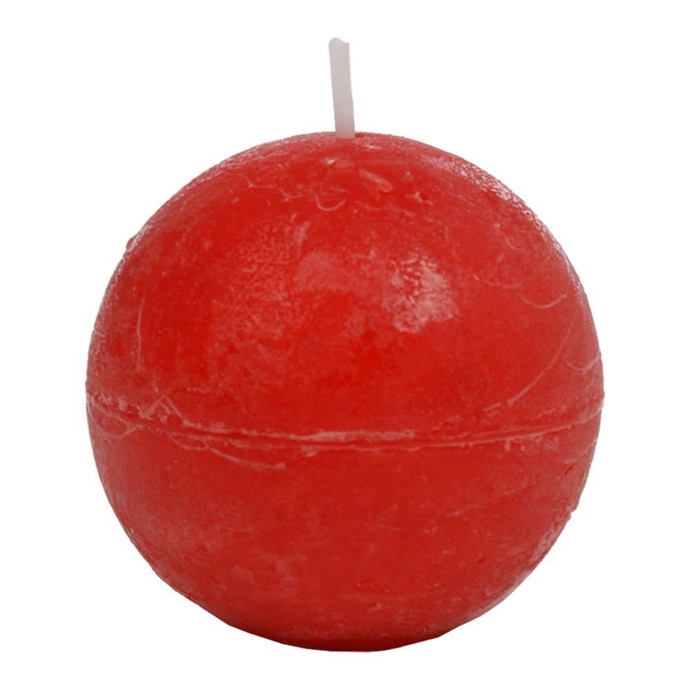 Vela Bola Vermelha Pequena - 16 Horas - em Parafina - 6,5x6,5 cm