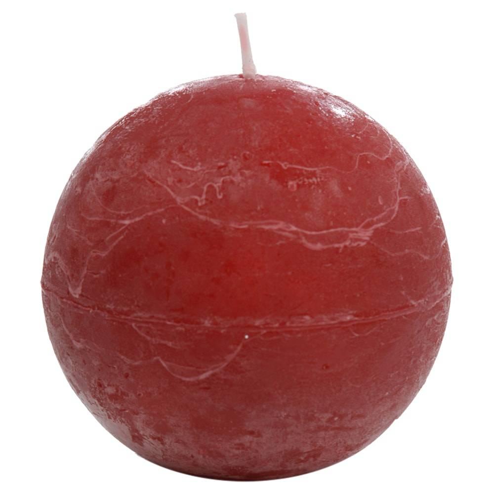 Vela Decorativa Bola Vermelha em Parafina - 8,5 cm
