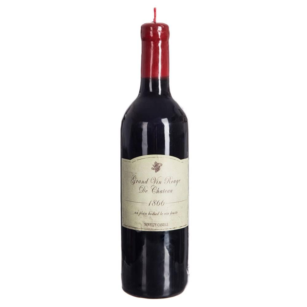 Vela Garrafa de Vinho - 100 Horas de Duração - em Parafina - 28,5x7,2 cm