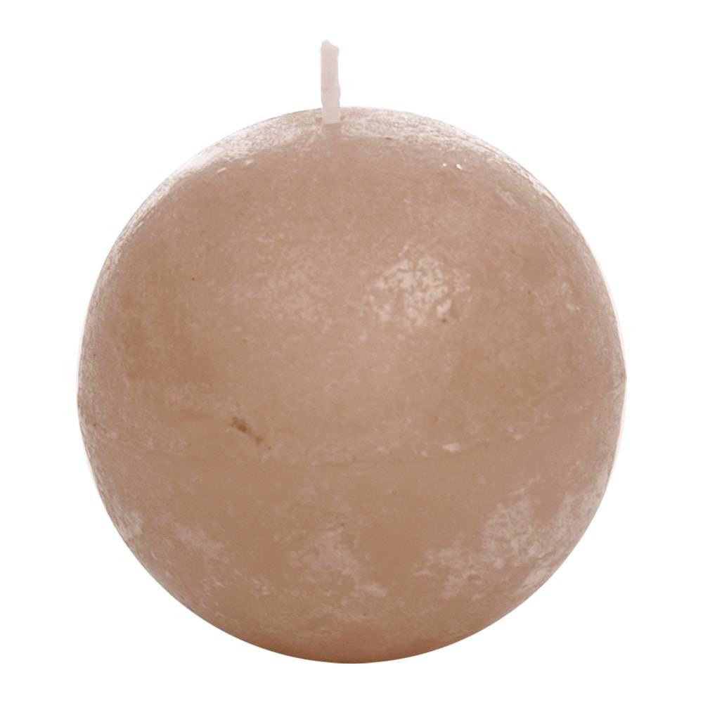 Vela Redonda Bege Média em Parafina - 7,5x7,5 cm