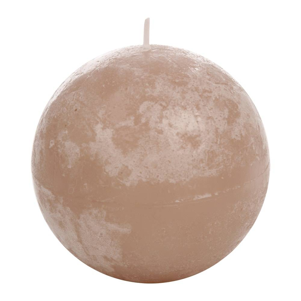 Vela Redonda Grande Bege em Parafina - 8,5x8,5 cm
