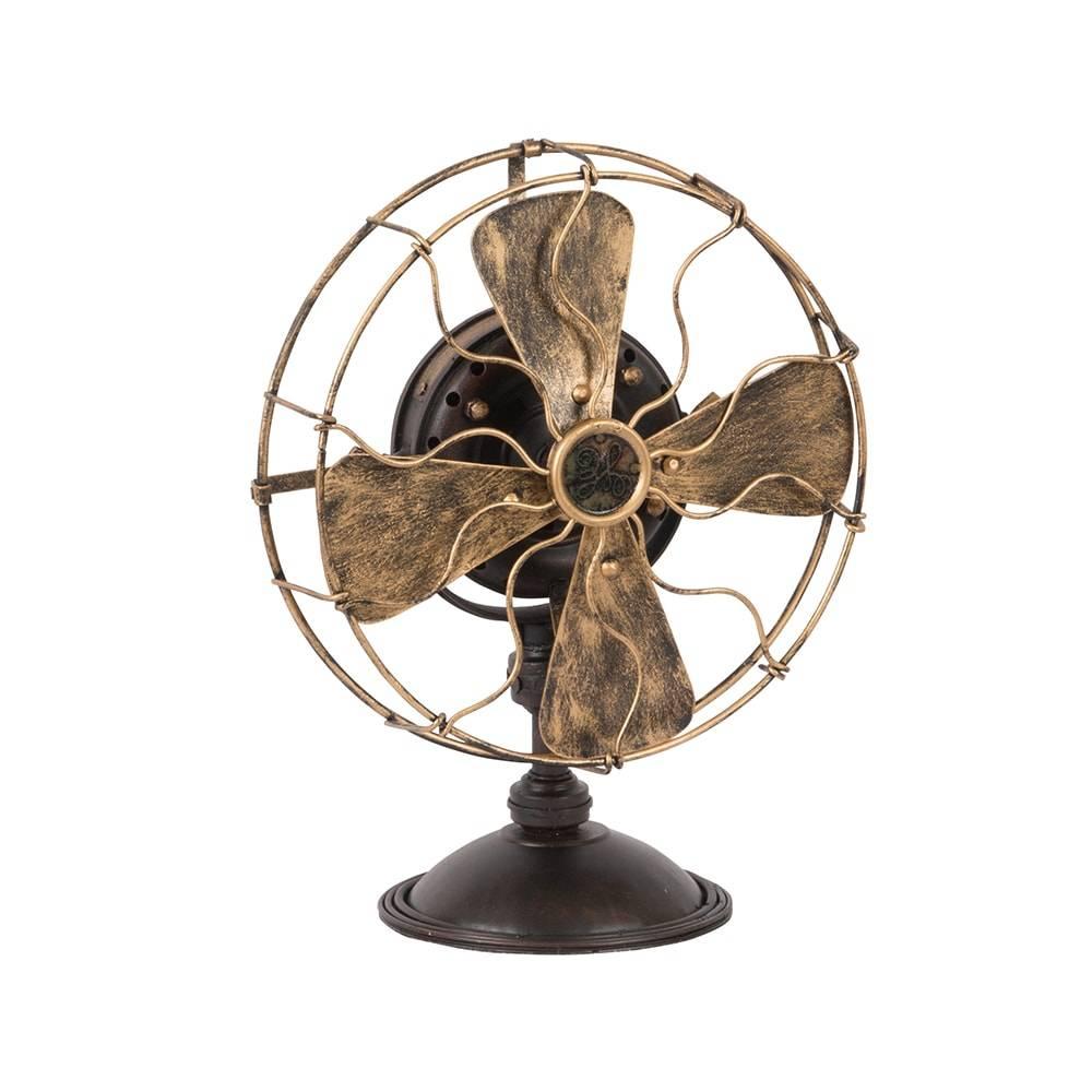 Ventilador Decorativo Vintage Modelo GE 1901 Preto e Bronze em Ferro - 20x16 cm