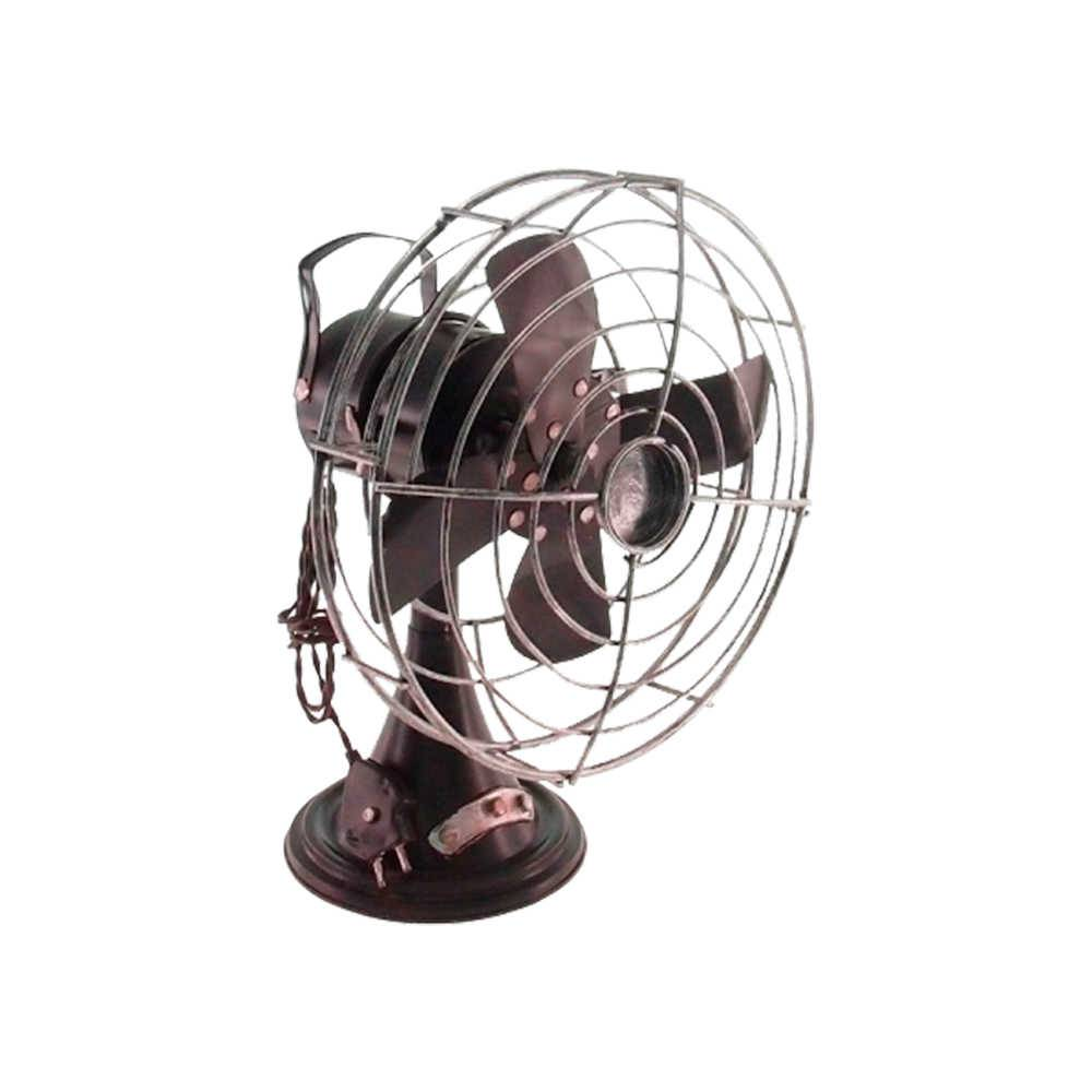 Ventilador Retrô Decorativo Marrom em Metal - 26x20 cm