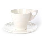 Xícara e Pires Modern Times Branco em Porcelana