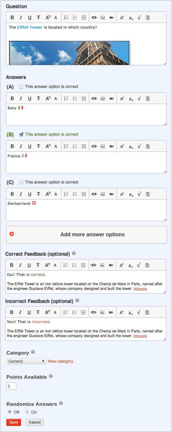 Create online test question editor