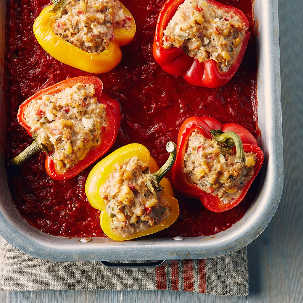 greek rice feta stuffed peppers