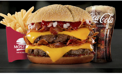 Combo MEGA Doble Extra Bacon + papas regulares + gaseosa regular - Groupon