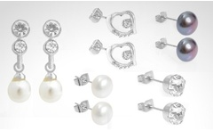 Set de 5 pares de aros con cristales y perlas de Swarovski Elements. Incluye despacho - Groupon