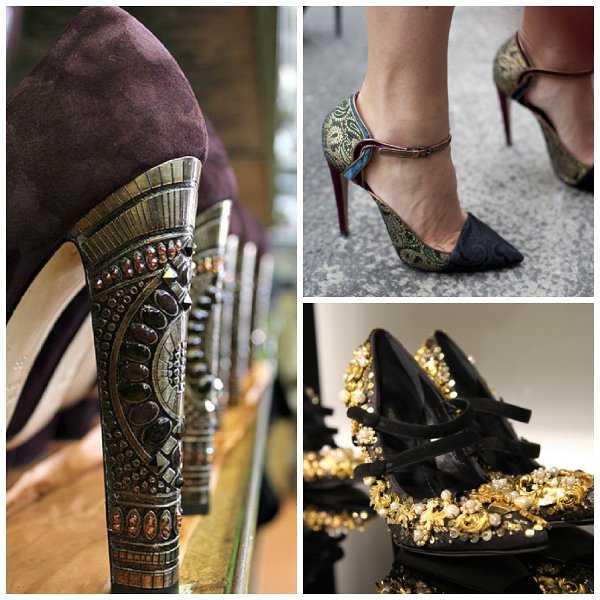 Detalles hermosos en los zapatos de tacón