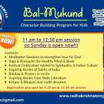 Bal Mukund - Character Building Program for Kids – Registration Open – Hurry up!!! 2021