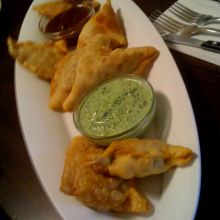 Samosas with Mint and Taramind Chutney