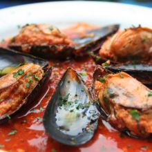 Delicious stuffed mussels in a spicy tomato sauce