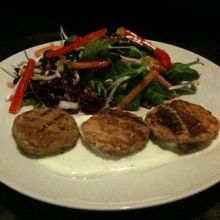 Ginger Tuna Patties and Wasabi Yoghurt Sauce with  Crunchy Asian Spicy Salad