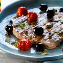 Grilled Tuna with Roast Tomatoes and Spanish olives
