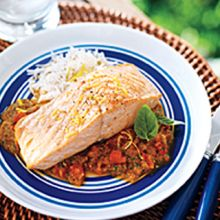 """Grilled Salmon with """"Fired Up"""" Vegetable Sauce"""