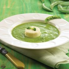 Spring Pea Soup with Parmesan Custards