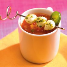 Gazpacho with Bocconcini Spears