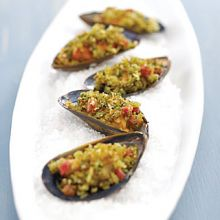 Baked Mussels with Pesto
