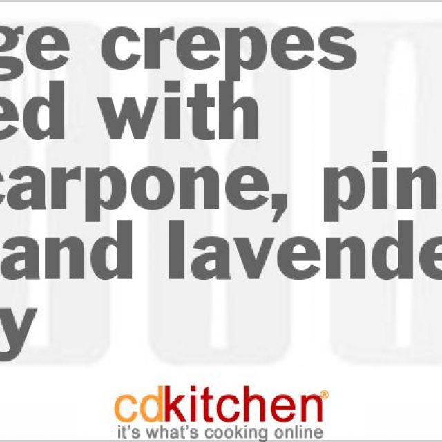 Orange Crepes Served with Mascarpone, Pine Nuts and Lavender Honey